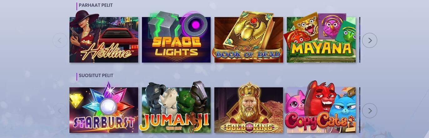 Casiplay casinon parhaat ja suositut pelit