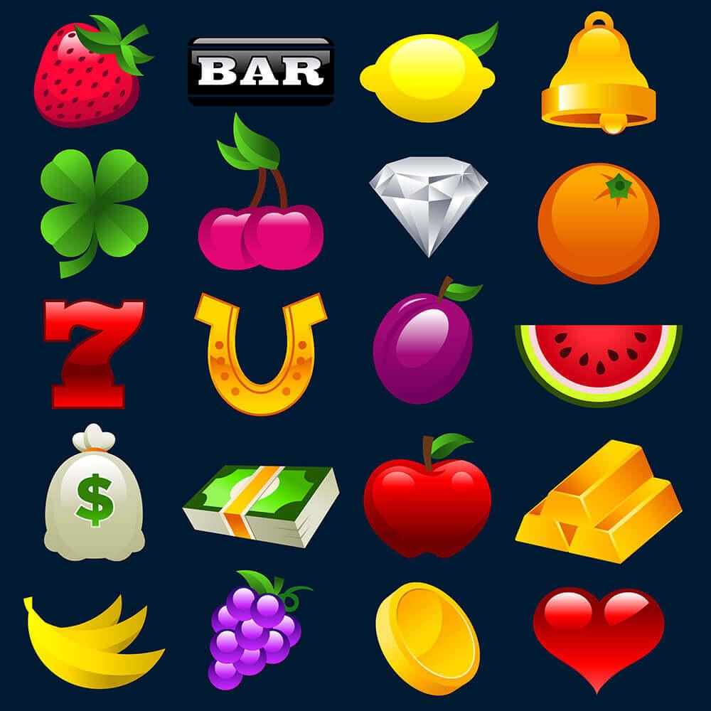peliautomaatin symboleita